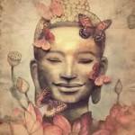 pink buddha smiling butterflies
