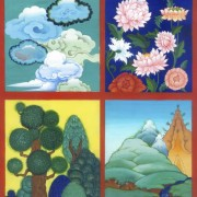 Asian Mountains and Trees Image of Four